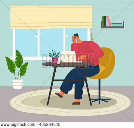 Programmer Man In Eyeglasses With On Table Sitting And Using Computer. Quarantine Distance Work. Fre