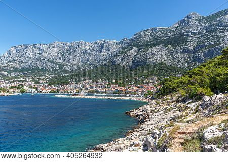View Of The Resort Town Of Makarska In The Summer Day. Croatia.