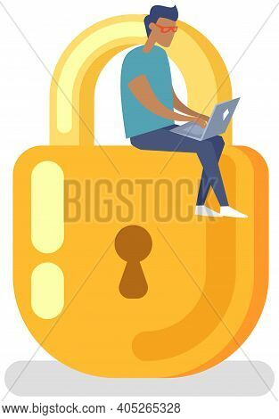 Protection Of Personal Information Of Users. Padlock Icon With Man Sitting On Top, Security Defense.