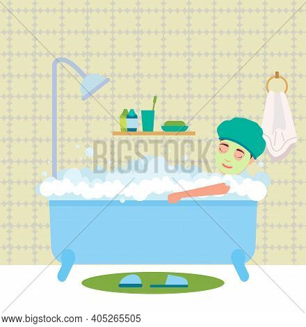Man Having Bath. Guy Sitting In Bathtub With Foam And The Mask On His Face Vector Illustration. Morn