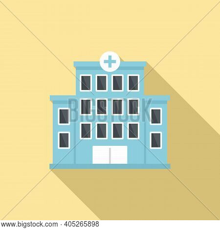 Hospital Building Icon. Flat Illustration Of Hospital Building Vector Icon For Web Design