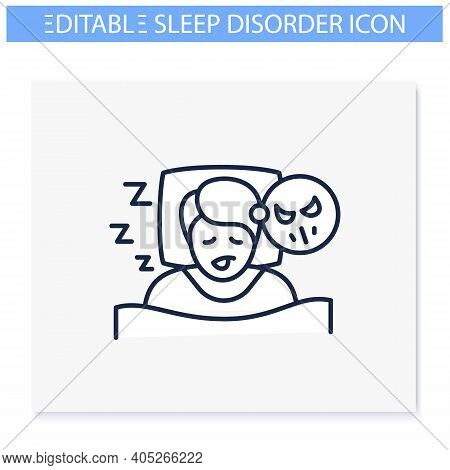 Nightmares Line Icon. Night Terror. Sleep Disorder. Healthy Sleeping Concept. Sleep Problems Treatme