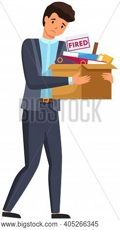 Layoff Concept. Unhappy Fired Man Leave The Office With Things In Box Isolated On White Background.