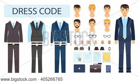 Isolated Young Guy In Formal Suit. Collection Of Office Worker Or Businessman. Dresscode Constructor