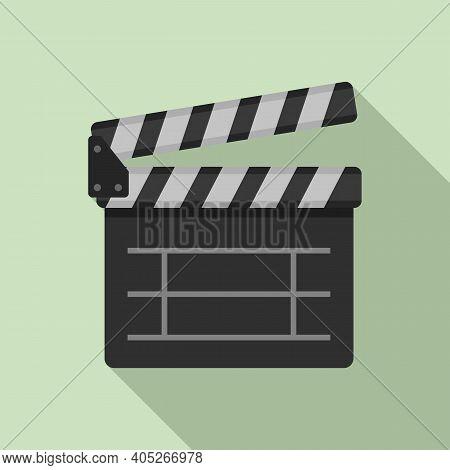 Entertainment Clapper Icon. Flat Illustration Of Entertainment Clapper Vector Icon For Web Design