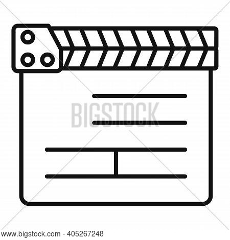 Director Clapper Icon. Outline Director Clapper Vector Icon For Web Design Isolated On White Backgro