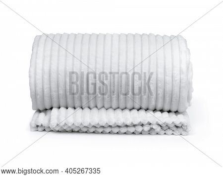 Front view of rolled white fleece plaid isolated on white