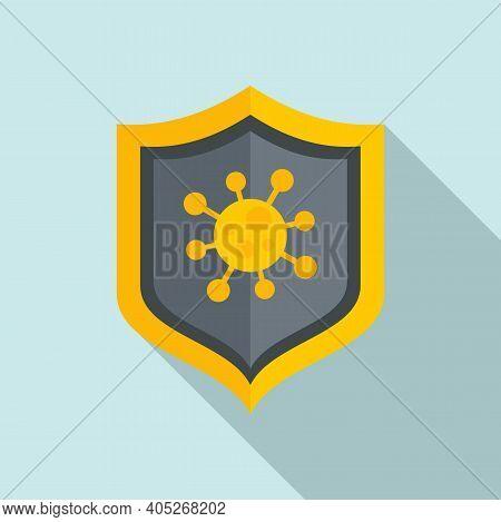 Biohazard Shield Icon. Flat Illustration Of Biohazard Shield Vector Icon For Web Design