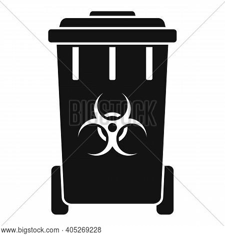 Biohazard Garbage Cart Icon. Simple Illustration Of Biohazard Garbage Cart Vector Icon For Web Desig