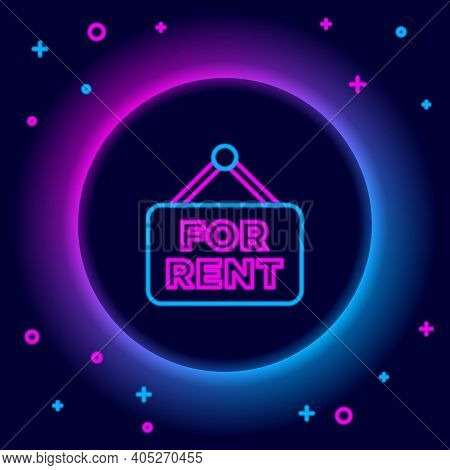 Glowing Neon Line Hanging Sign With Text For Rent Icon Isolated On Black Background. Signboard With