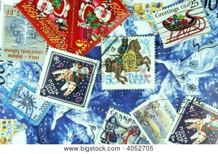The New Year  Background Of  Post Stamp.