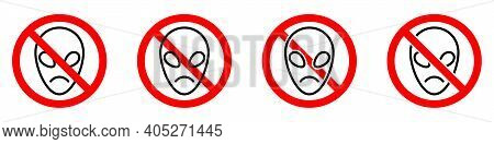 No Alien Icon. Ufo Ban Icon. Ufo Is Prohibited. Stop Or Ban Red Round Sign With Alien Icon. Vector I