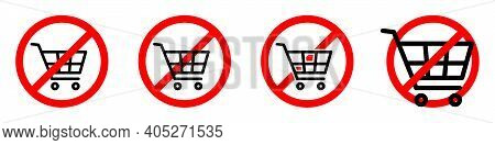 Shopping Cart Ban Icon. Shopping Cart Is Prohibited. Stop Or Ban Red Round Sign With Shopping Cart I