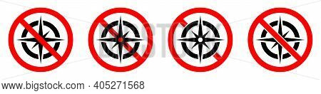 Compass Ban Icon. Compass Is Prohibited. Stop Or Ban Red Round Sign With Compass Icon. Vector Illust