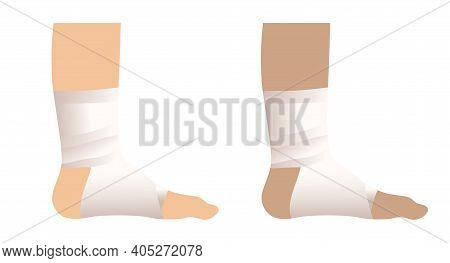 Elastic Bandage, Foot Medical And First Aid , Health Care Illustration Vector Design.