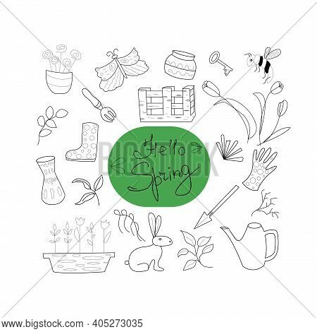 Garden  Hello Spring Vector Doodle Illustration. A Set Of Icons On A Spring Theme Isolated On A Whit