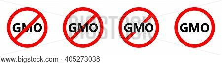 Gmo Ban Icon. Gmo Is Prohibited. Stop Or Ban Red Round Sign With Gmo Icon. Vector Illustration. Forb
