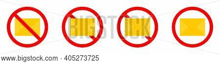 Mail Ban Icon. Letter Is Prohibited. Stop Or Ban Red Round Sign With Email Icon. Vector Illustration