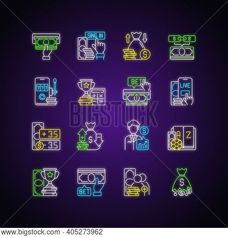Sports Betting Neon Light Icons Set. Cashing Out Option. Financial Award. Mobile Casino. Odds Calcul