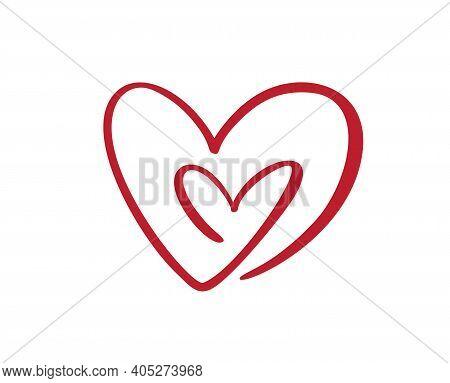 Two Flourish Hand Drawn Hearts. Vector Cut Linked Holiday Valentine Card Handmade Love Calligraphy.