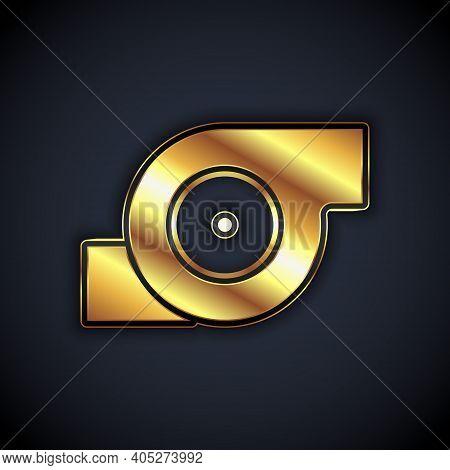 Gold Automotive Turbocharger Icon Isolated On Black Background. Vehicle Performance Turbo. Turbo Com