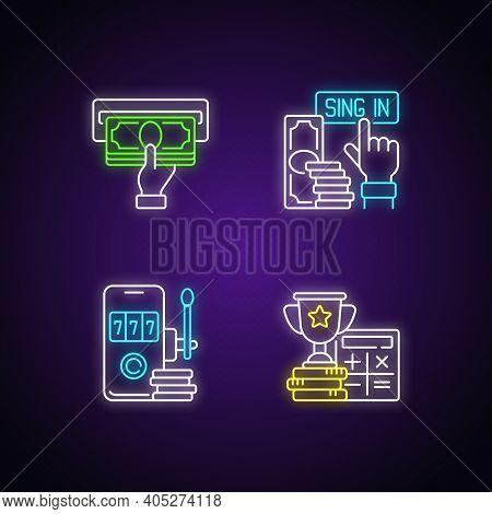 Betting On Sports Neon Light Icons Set. Making Profit From Bet. Sign-up Bonus. Virtual Gambling. Rec