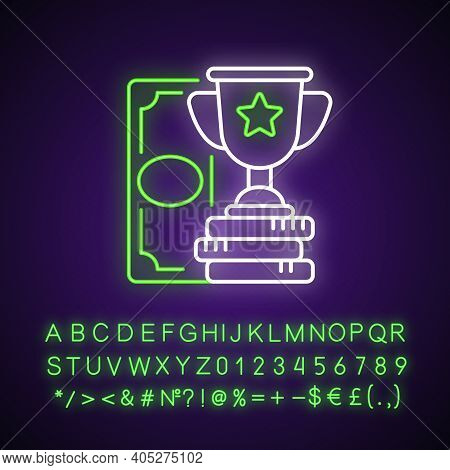 Winning Neon Light Icon. Cash Prize. Victory. Becoming Profitable Bettor. Keeping Winning Bet. Outer