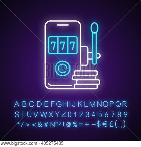 Mobile Casino Neon Light Icon. Virtual Gambling. Playing Chance Games. Gamblers Ability Wagering Thr