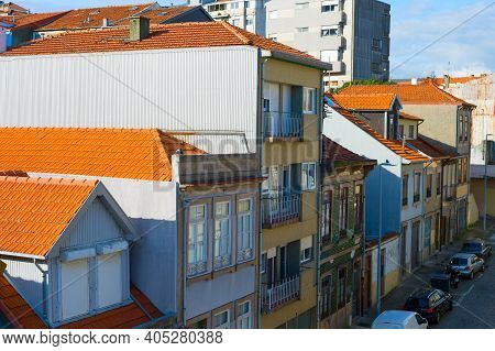 View Of Typical Residential Street In Porto, Portugal