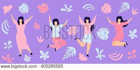 Horizontal Banner For International Womens Day. Sisterhood. Group Of Young Joyful Girls Jumping With