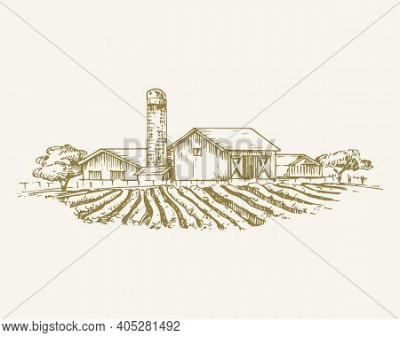 Hand Drawn Rural Buildings Landscape Vector Illustration. Farm With Field, Barns, Grain Elevator And