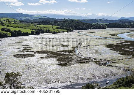 Beautiful Landscape In San Vincente De La Barquera In Spain. North Coast Of Spain. Bay Of Biscay.