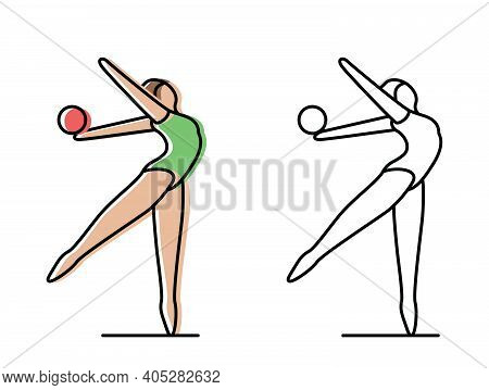 Gymnastics. Gymnast Hardening. Vector Icons In Flat Style