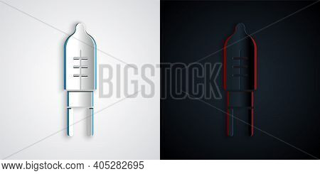 Paper Cut Light Emitting Diode Icon Isolated On Grey And Black Background. Semiconductor Diode Elect