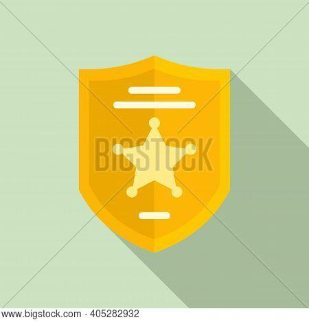 Investigator Police Shield Icon. Flat Illustration Of Investigator Police Shield Vector Icon For Web