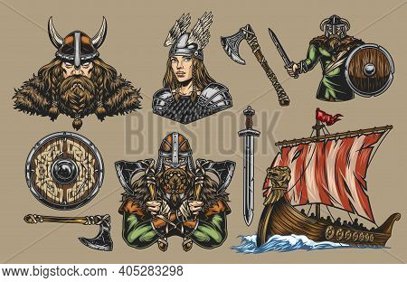 Vikings Elements Vintage Colorful Composition With Strong Nordic Warriors Pretty Valkyrie Drakkar Sh