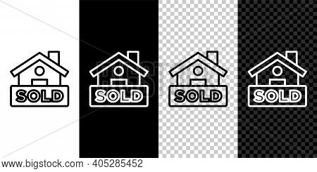Set Line Hanging Sign With Text Sold Icon Isolated On Black And White, Transparent Background. Sold
