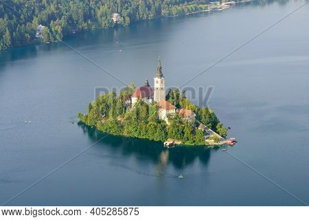 Aerial View Of Lake Bled With St. Marys Church Of Assumption On The Small Island, Bled, Triglav Nati