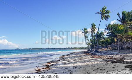 Punta Cana, Dominican Republic. December 2020. Beaches Almost Deserted Due To Lack Of Tourists Due T