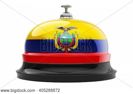 Reception Bell With Ecuadorian Flag, 3d Rendering Isolated On White Background