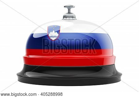 Reception Bell With Slovenian Flag, 3d Rendering Isolated On White Background