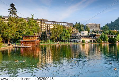 Bled, Slovenia - September 11, 2016: The Central Part Of The Resort And The Shores Of Lake Bled In T