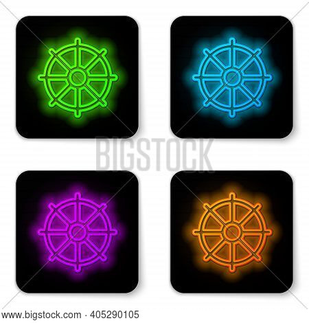 Glowing Neon Line Dharma Wheel Icon Isolated On White Background. Buddhism Religion Sign. Dharmachak