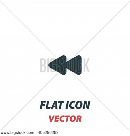 Fast Rewind Media Control Icon In A Flat Style. Vector Illustration Pictogram On White Background. I