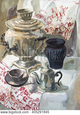 Still Life With Samovar And Teapot Hand-painted By Tempera Paints On White Paper