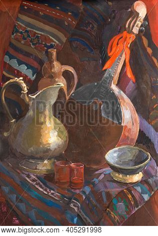 Still Life With Jug And Mandoline Hand-painted By Tempera Paints On White Paper