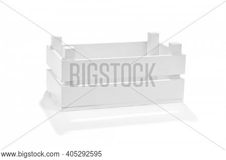 White wooden crate isolated on white background
