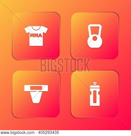 Set T-shirt With Fight Club Mma, Kettlebell, Groin Guard And Fitness Shaker Icon. Vector
