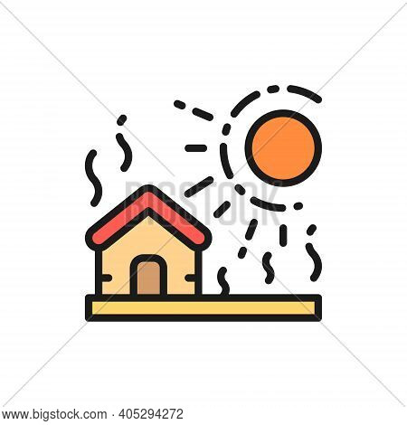 Vector Drought, Natural Disaster, Catastrophe Flat Color Line Icon.