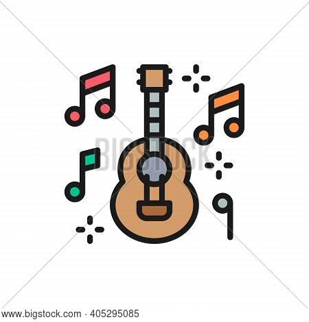 Mexican Guitar, Music, Mariachi Flat Color Line Icon.